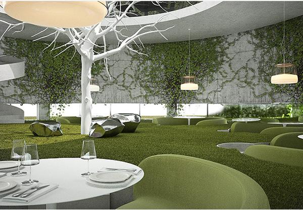 绿意盎然的西餐厅设计风格案例图库